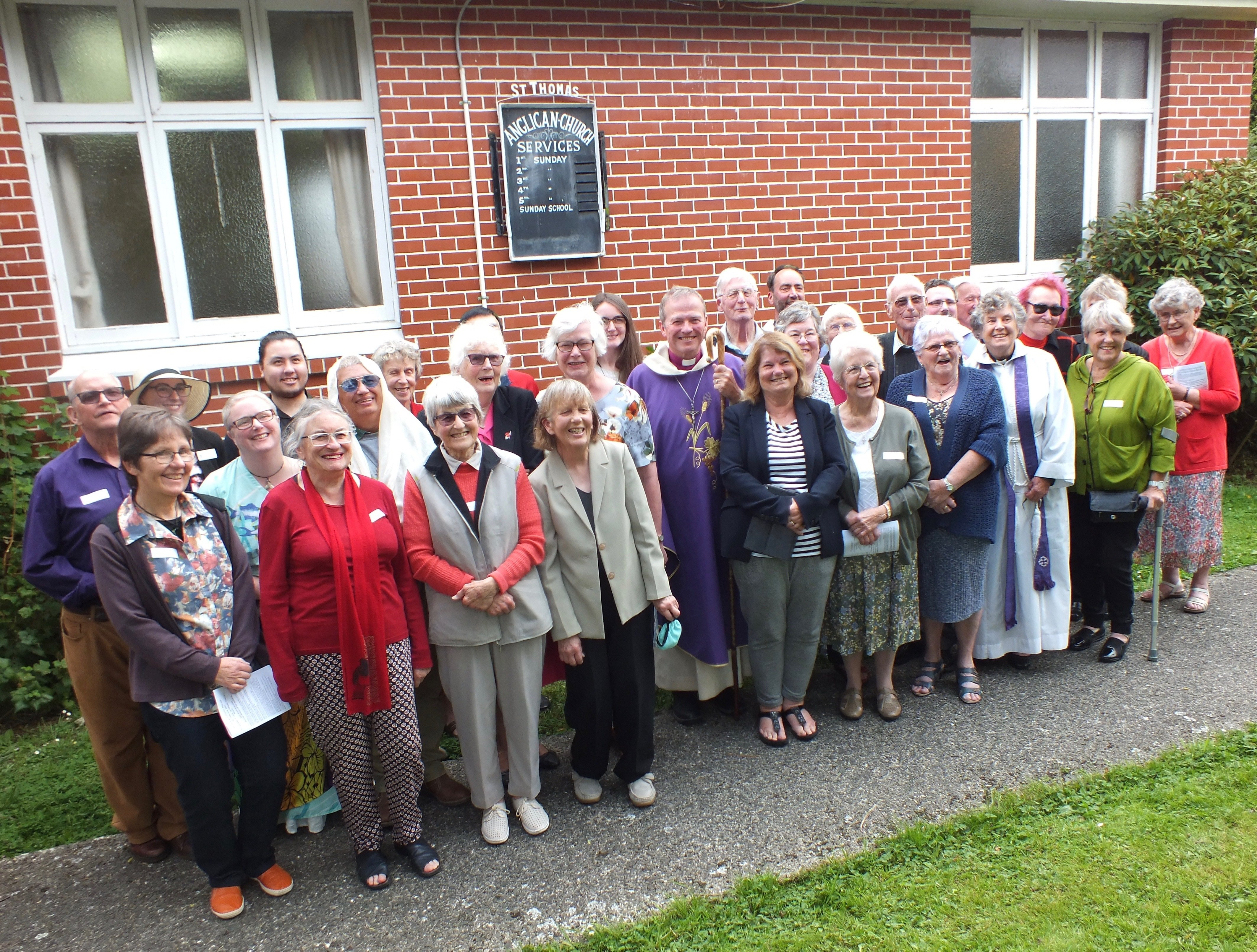 Former parishioners who attended the Sunday afternoon service with Anglican Bishop of Dunedin...