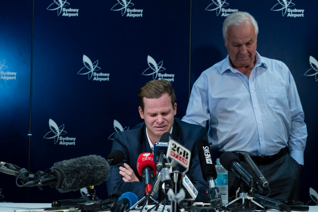 An emotional Steve Smith fronts the media after accusations of ball tampering in South Africa in March, 2018. Photo: Getty Images