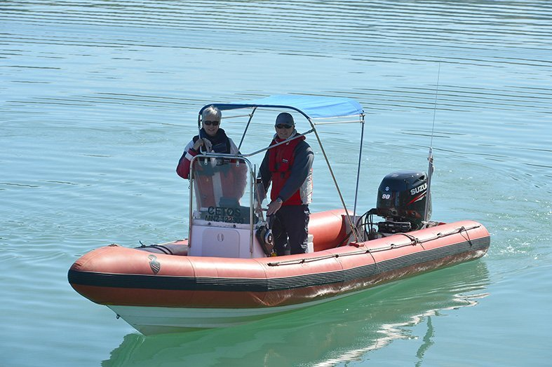Prof Liz Slooten and Prof Steve Dawson use their 6.5m-long vessel Cetos in Akaroa Harbour in the...