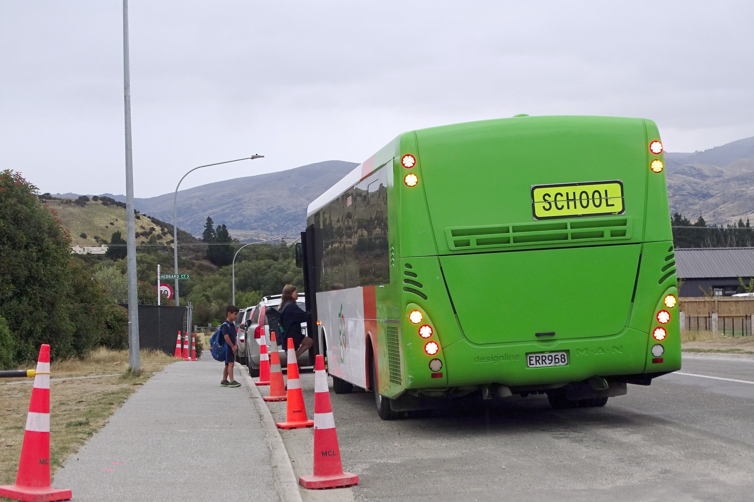 Cones keep pupils safe after buses have had to stop in the middle of Alison Ave, due to a lack...