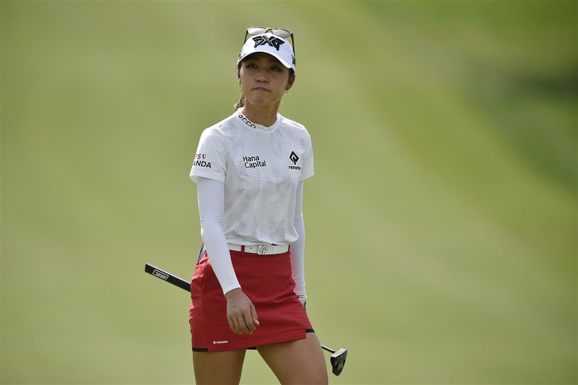 Lydia Ko on the green of the ninth hole during the final round of the ANA Inspiration tournament...