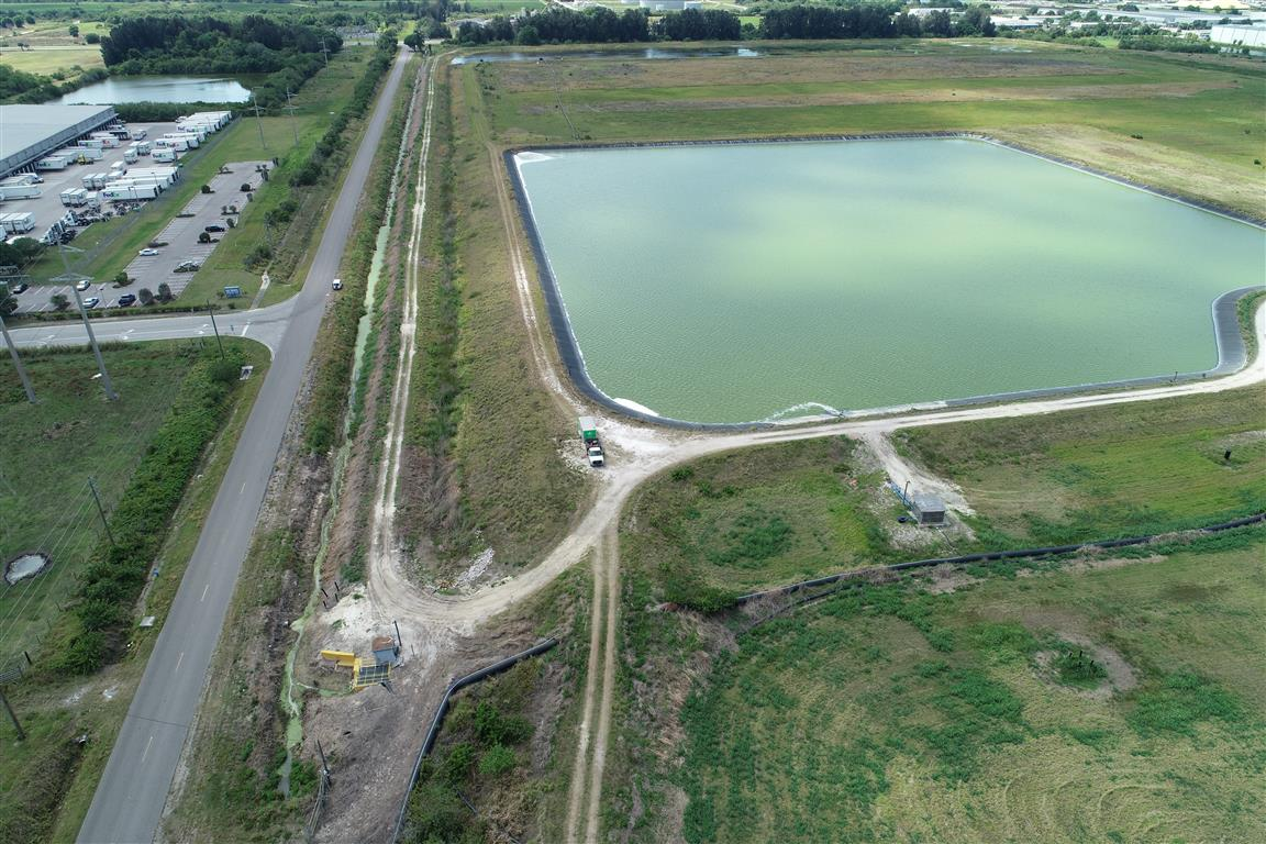 The reservoir is seen in an aerial photograph taken in Piney Point, Florida. Photo: Reuters