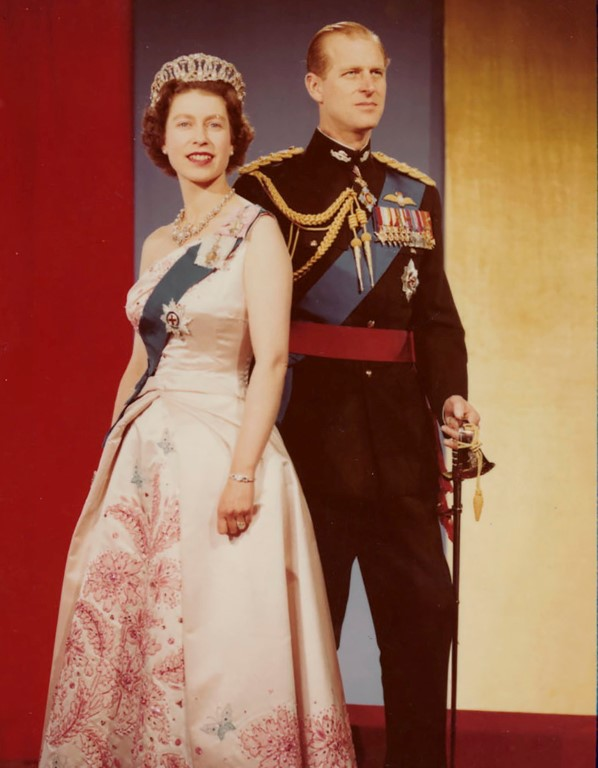 Queen Elizabeth II and Prince Philip, wearing the uniform of the Honorary Colonel-in-Chief of the...