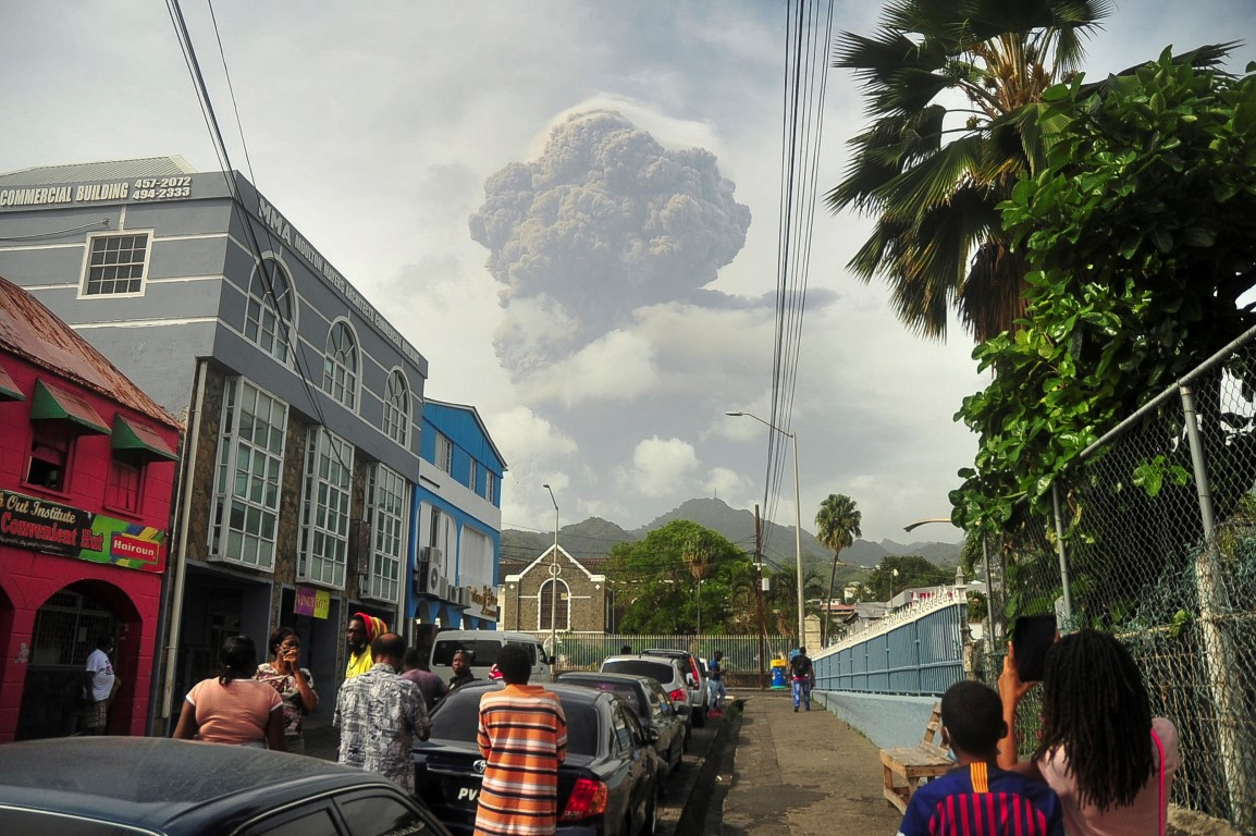 La Soufriere erupts in Kingstown on the eastern Caribbean island of St. Vincent. Photo: Reuters
