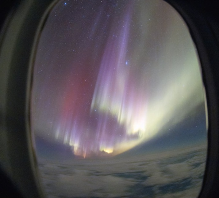 The aurora from the flight. Photo: supplied