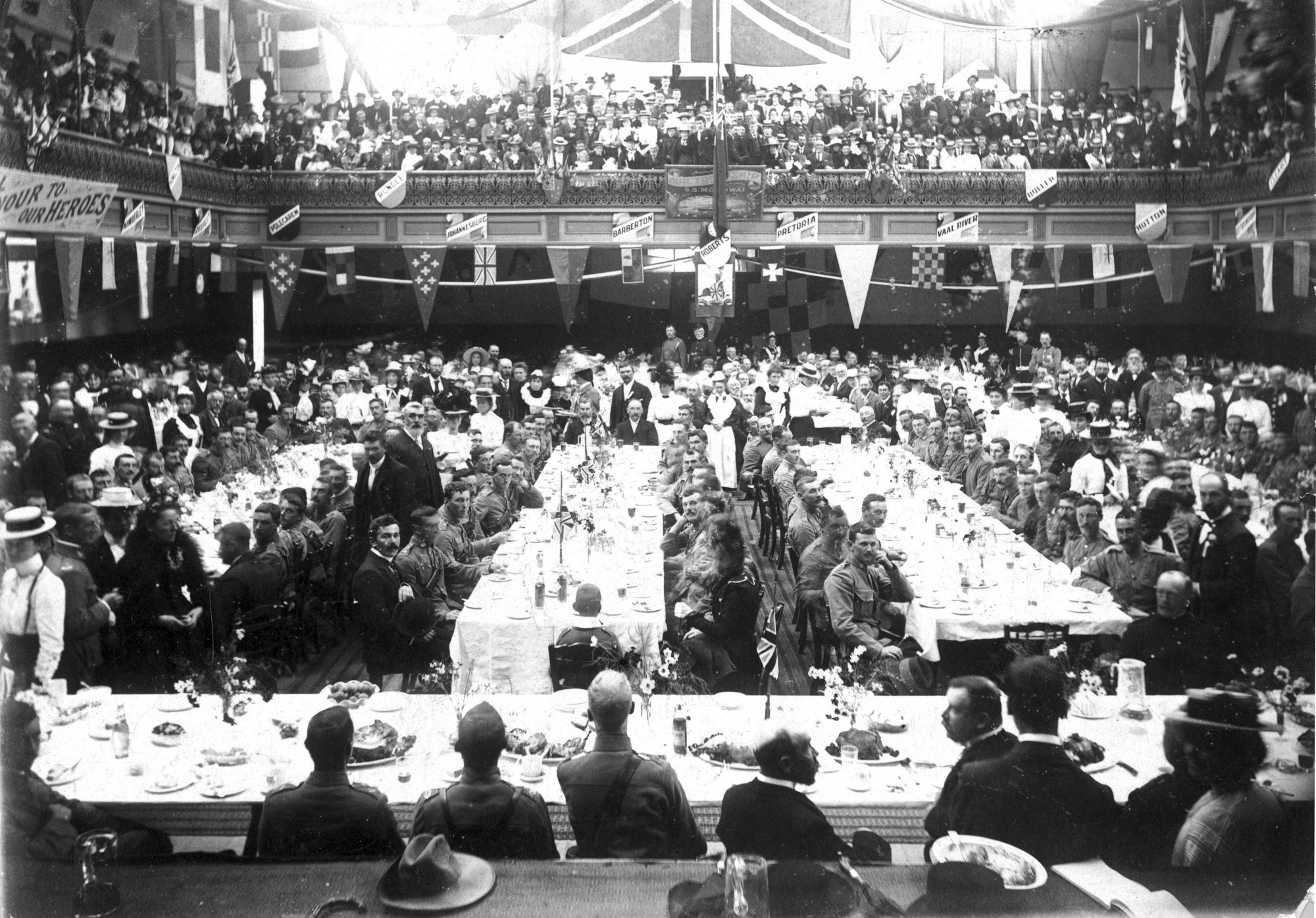 A luncheon for returned First and Second Contingent members at the Dunedin Agricultural Hall, on...