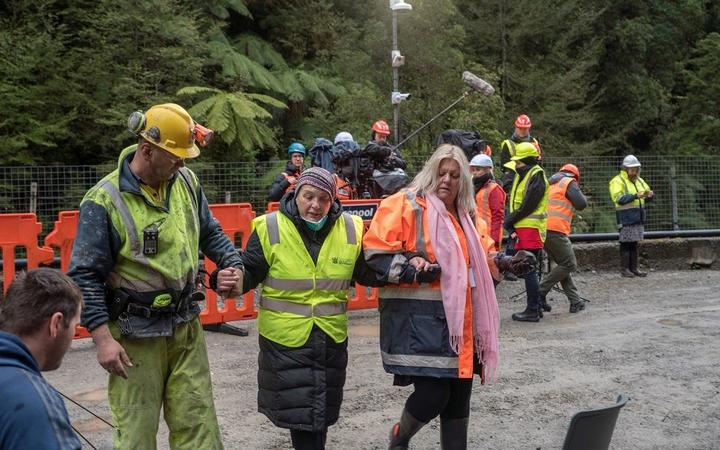 Anna Osborne (centre) and Sonya Rockhouse at the Pike River Mine in October 2019. Photo: Supplied...