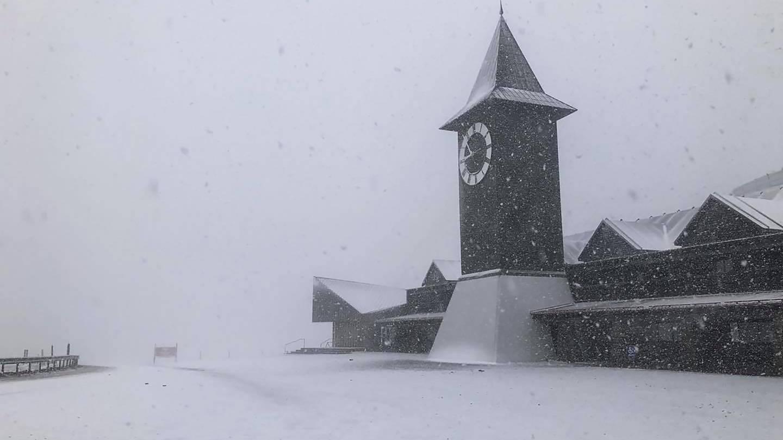 Snow falling at Cardrona ski field, near Wanaka, this morning. Photo: Phil Waddell