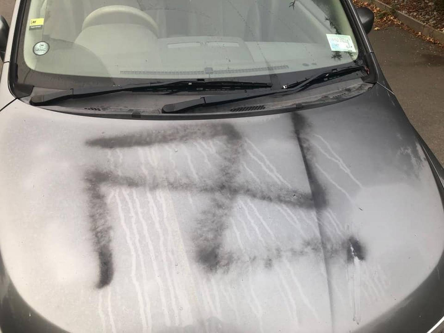 Another car that was vandalised in Lincoln overnight. Photo: Supplied