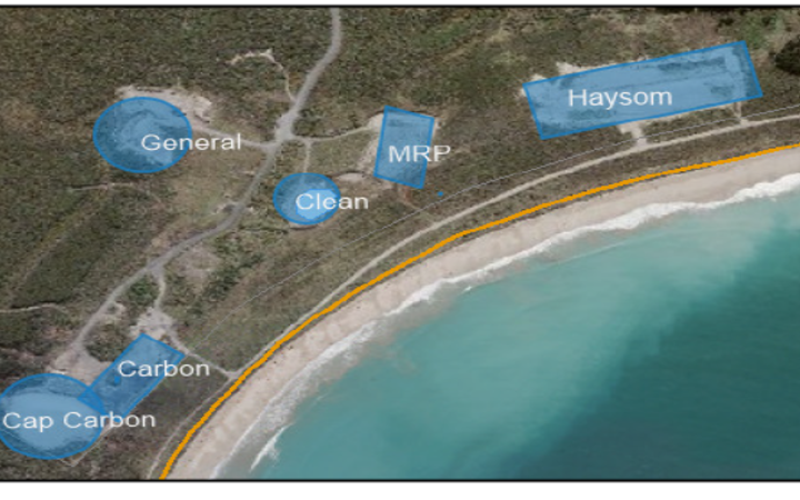 An aerial photo of the landfill; this shows carbon and Haysom's dross waste, which contains...