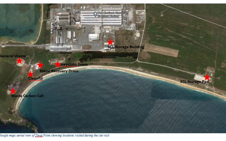 A map showing the landfill area, left, SCL sheds, centre, and SCL pad, right Photo: SUPPLIED/...