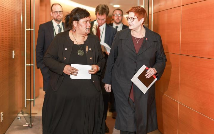New Zealand's Minister for Foreign Affairs Nanaia Mahuta (L) and her Australian counterpart...