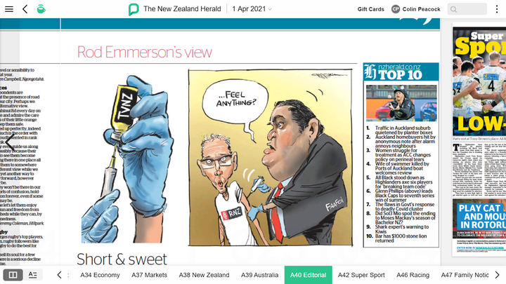 Rod Emmerson's take on the plan for a new media entity in his Herald cartoon on April 1. Photo:...