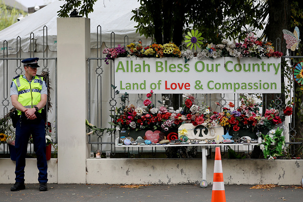 A police officer standing guard outside Al Noor mosque. Photo: Getty Images / file