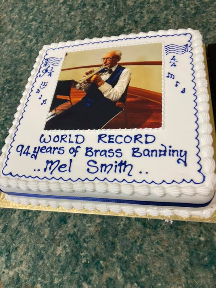 A cake presented to Smith by the 50s Up Brass Band last Wednesday. Photo: Supplied