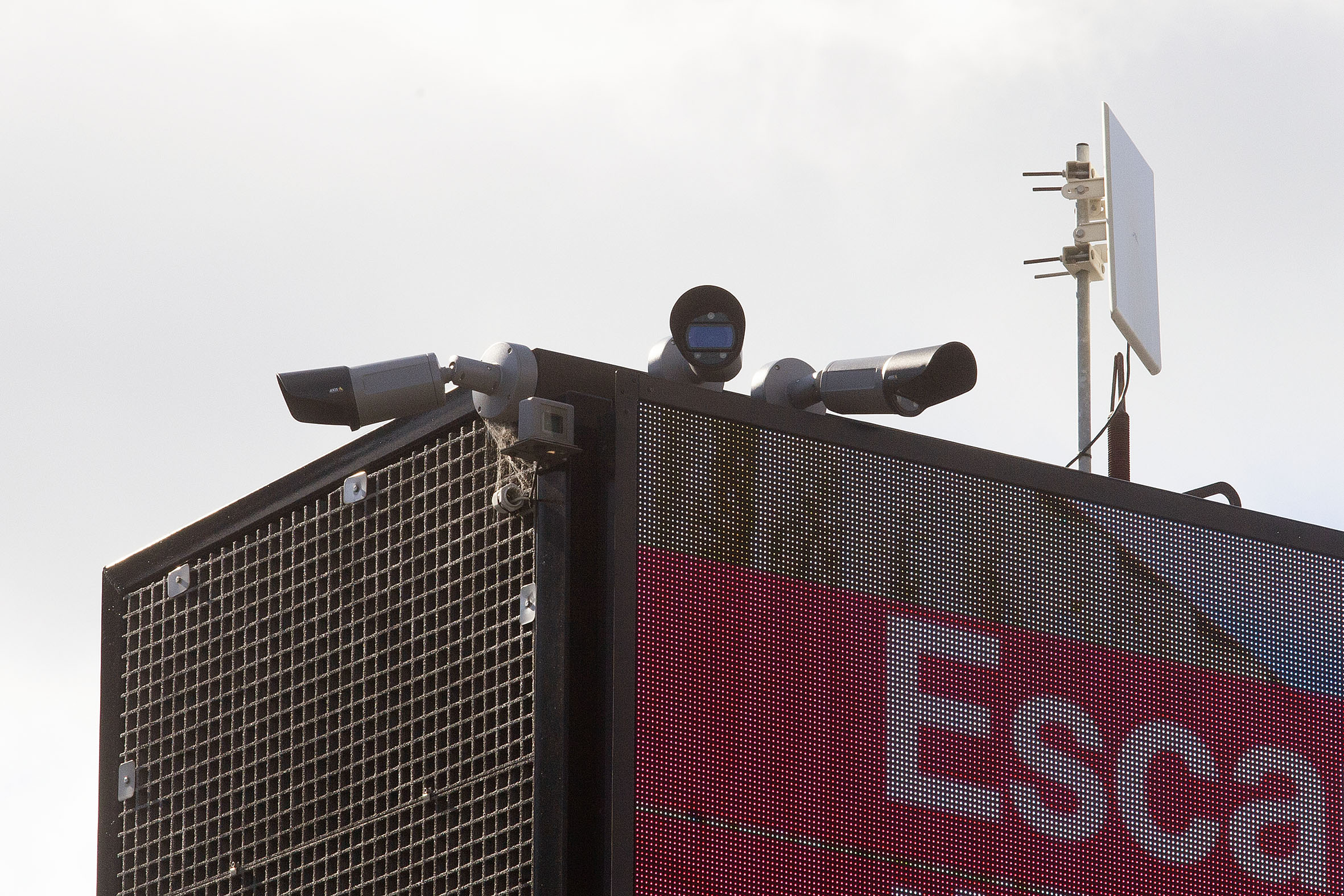 Cameras on the top of a billboard on the corner of Colombo and Brougham Sts.  Photo: Geoff Sloan