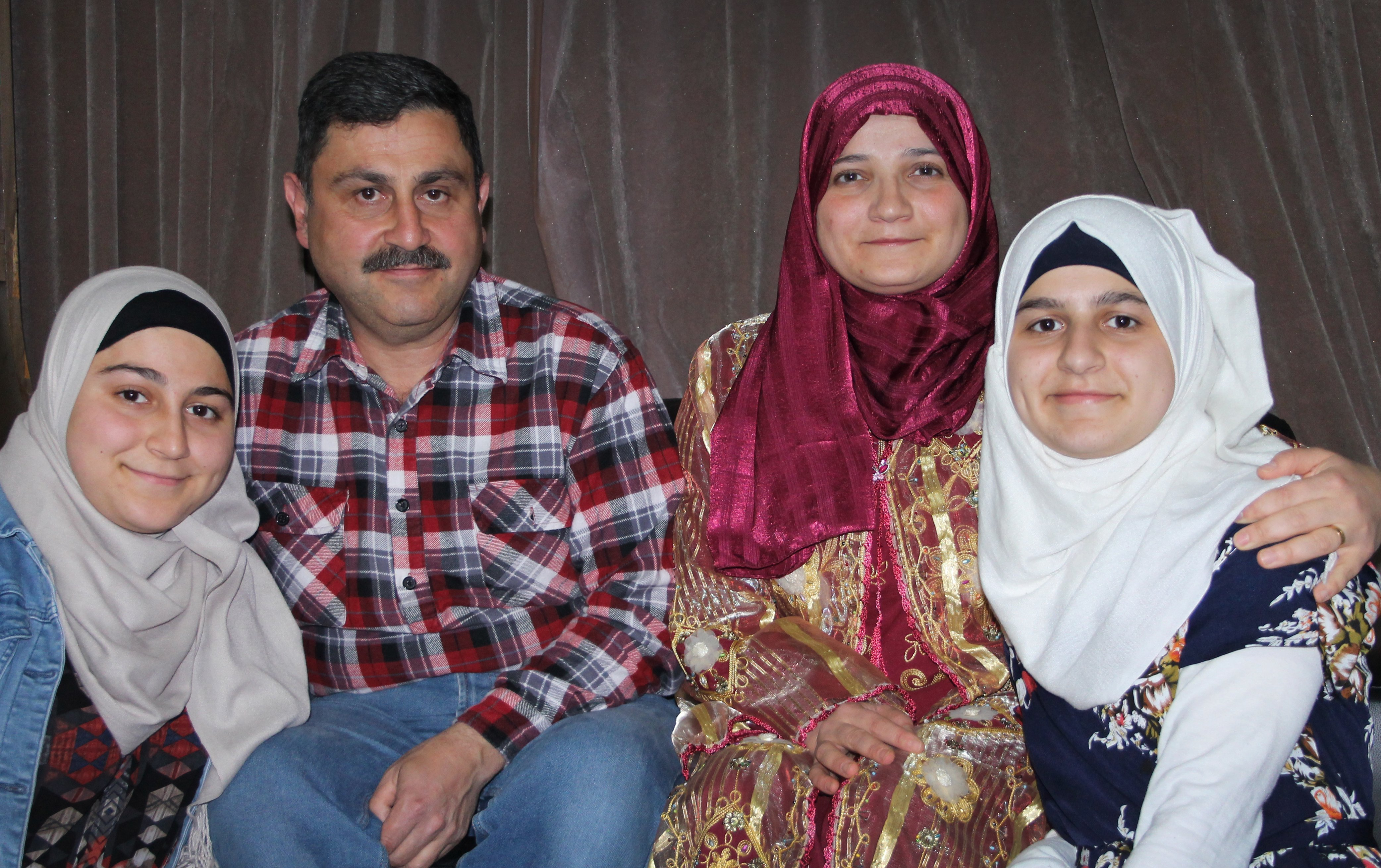 The Ghazzoul family from Syria, (from left) Nagham (18), Ghassan, Waad Alsaid and Naya (17)....