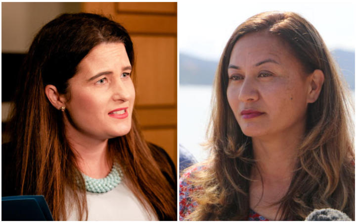 """Marama Davidson (right) says some living in emergency housing are facing """"inhumane, undignified..."""