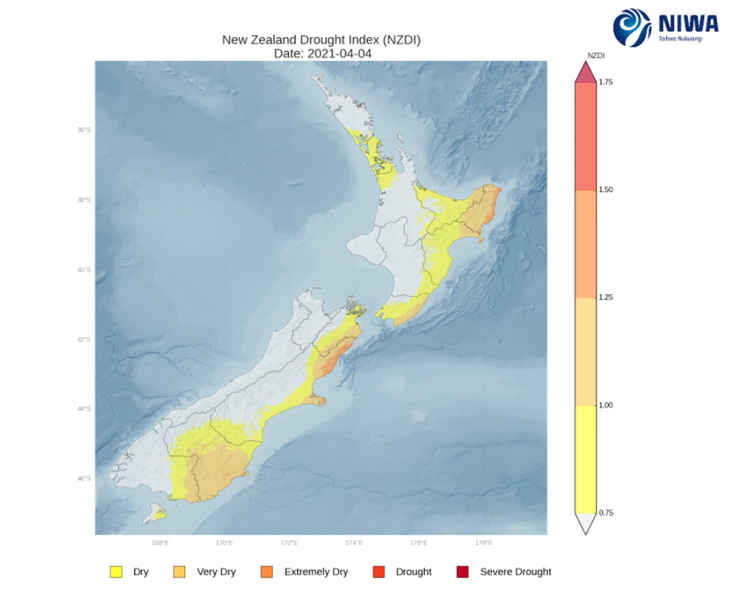Niwa's drought index map. Image: Supplied