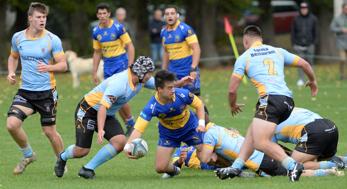 Action from the game between University and Taieri at Logan Park. Photo: Gerard O'Brien