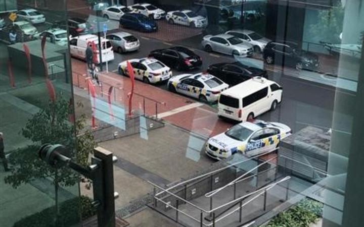 Police at the scene this morning. Photo: supplied via RNZ