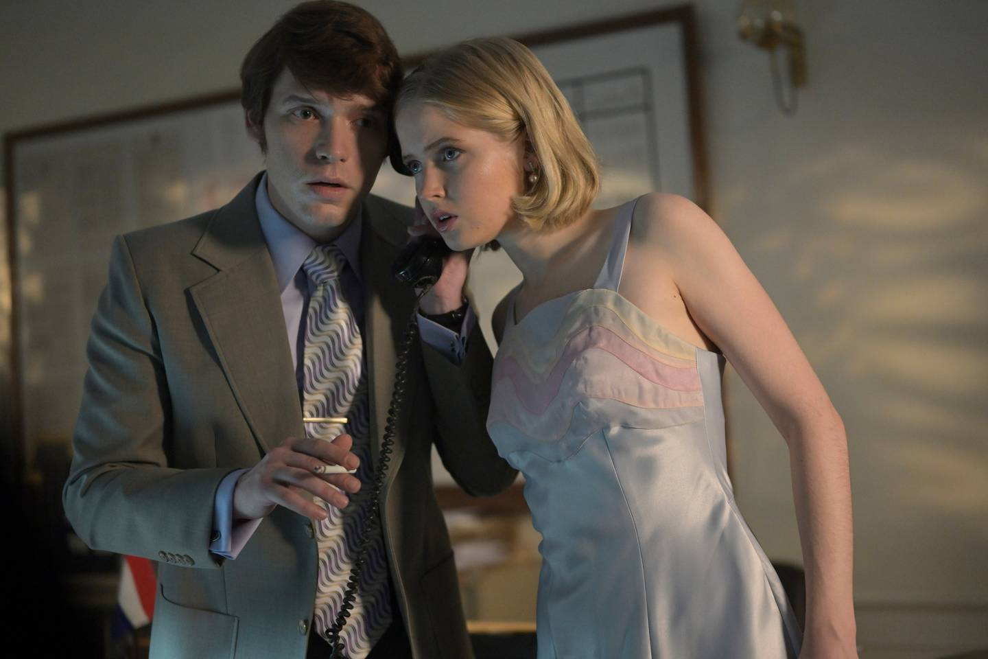 Billy Howle and Ellie Bamber play Herman and Angela Knippenberg. Photo: Netflix / Mammoth Screen Ltd