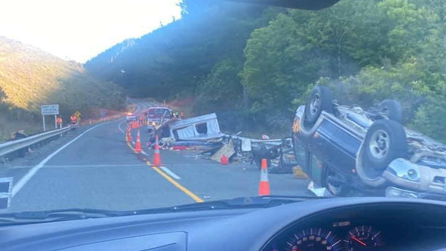 The crash on State Highway 6 on Wednesday. Photo: Supplied