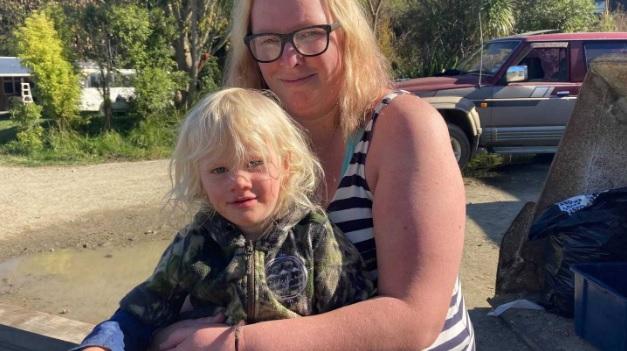 Axle Hamblyn with his mum Haley Allatt. Photo: NZ Herald