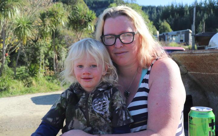 Axle Hamblyn with his mother Haley Allatt. Photo: RNZ