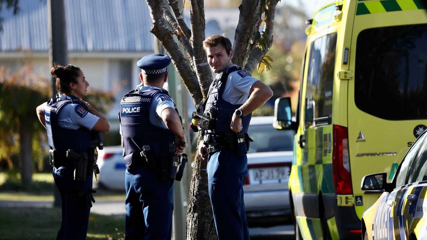 Armed police and emergency services at the scene of an incident in Christchurch. Photo: George Heard