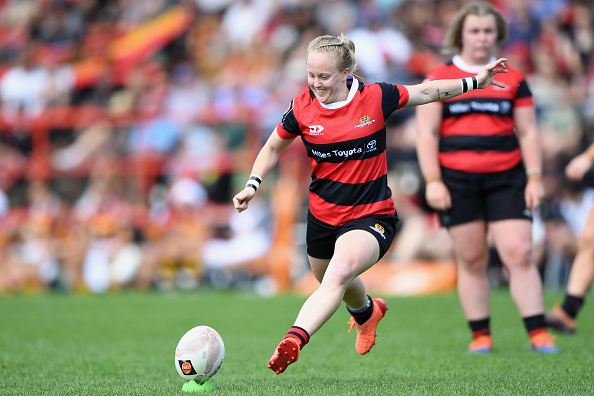 Kendra Cocksedge kicks a penalty for Canterbury in the Farah Palmer Cup. Photo: Getty Images
