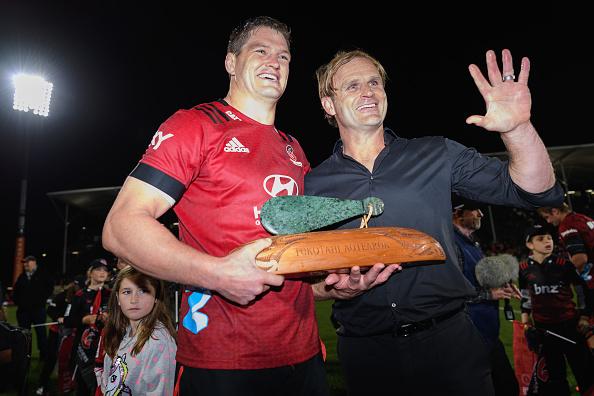 Scott Barrett and Scott Robertson with the Tū Kōtahi Aotearoa trophy after their Super Rugby...