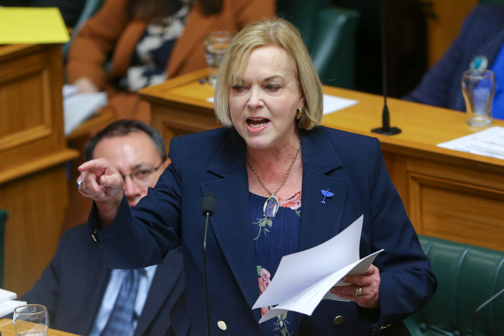 National leader Judith Collins speaks in Parliament after Finance Minister Grant Robertson...