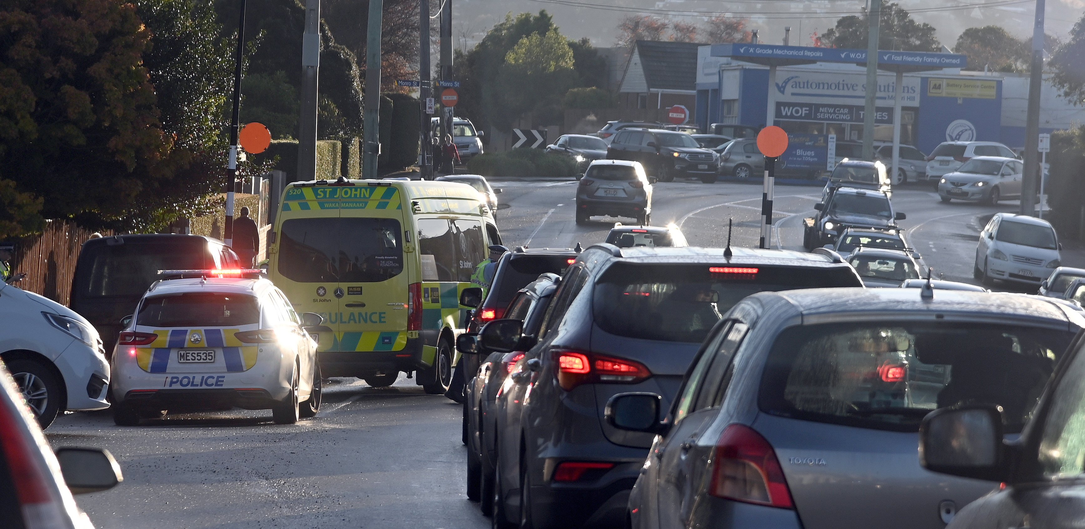Cars are backed up following the accident this morning. Photo: Craig Baxter