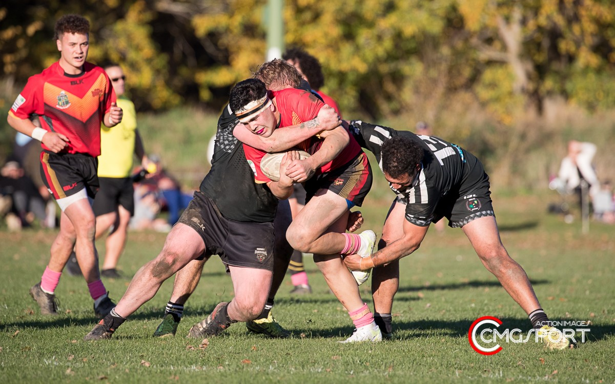 Alan Morrison carts the ball up for Halswell during their Canterbury Rugby League premiership...