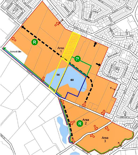 The part shaded in yellow may be set aside for future community use if the city council approves...