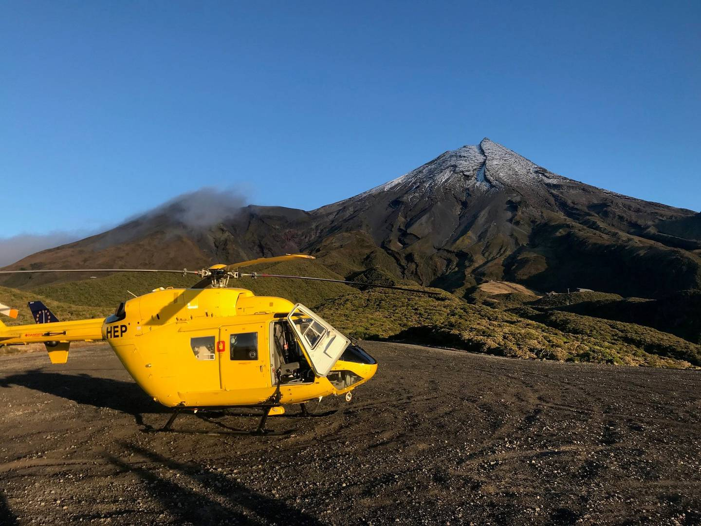 The two climbers were discovered at 8am on Thursday. Photo: Taranaki Rescue Helicopter Trust