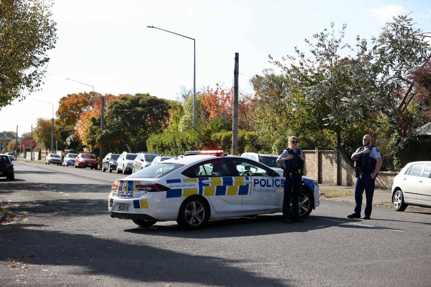Police at the scene of the incident. Photo: George Heard