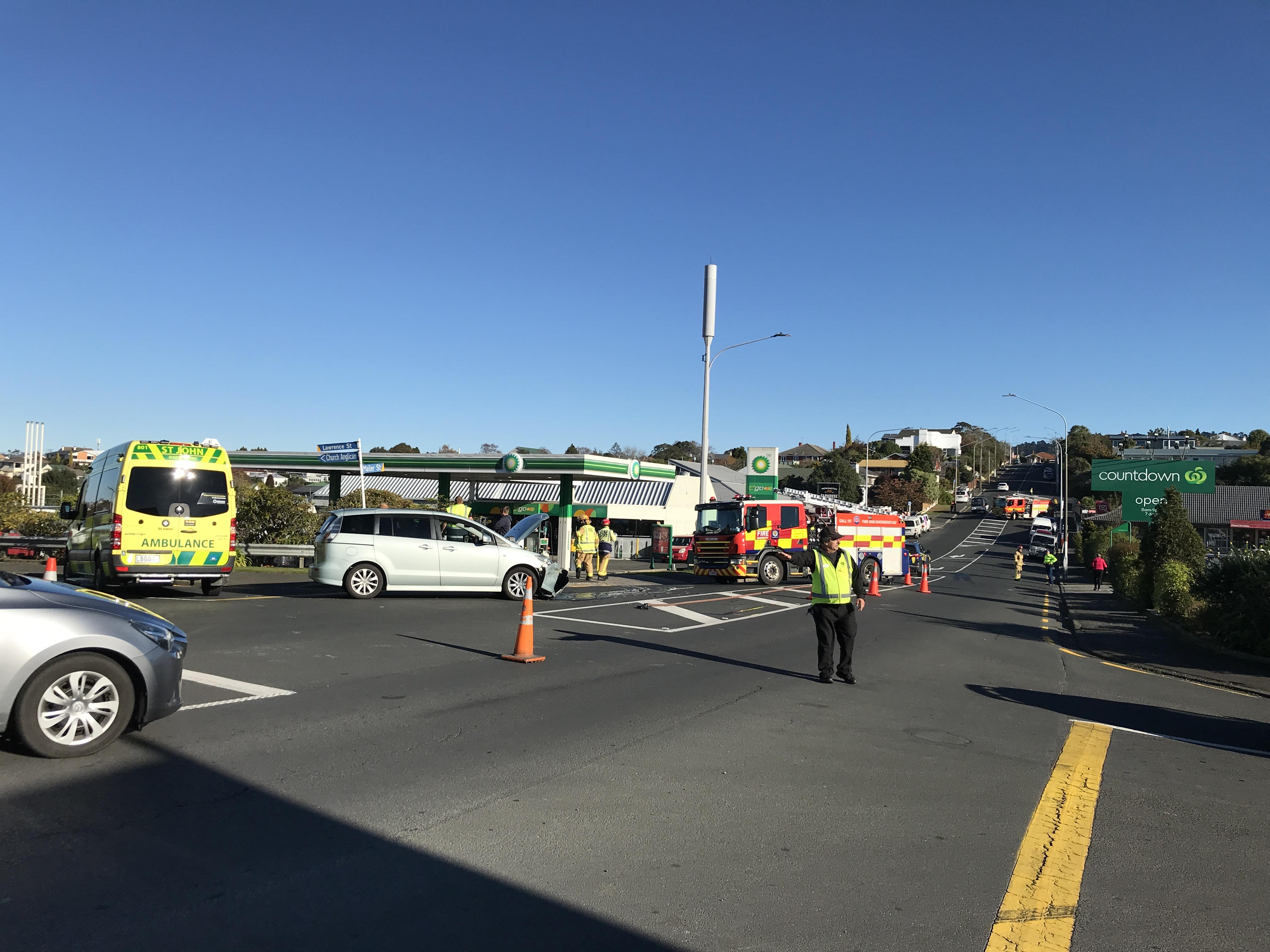Emergency services at the scene in Mornington.  PHOTO: GREGOR RICHARDSON
