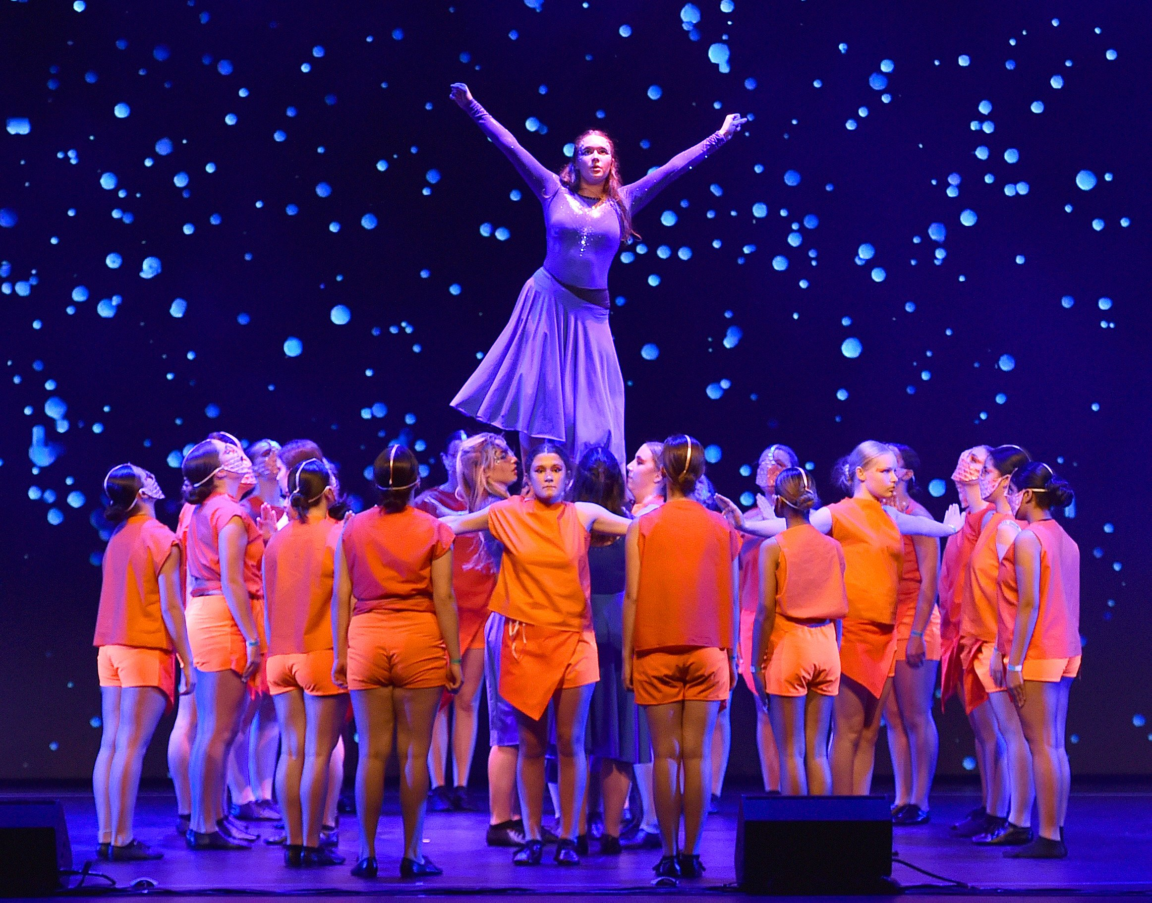 Performing at the first Showquest to be held in Dunedin are a group of Otago Girls' High School...