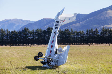 The light plane crashed into a paddock. Photo: Geoff Sloan