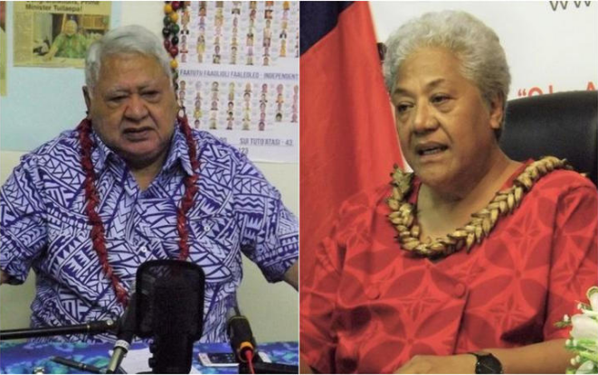 HRPP leader Tuila'epa Sa'ilele Malielegaoi and FAST Party leader Fiame Naomi Mata'afa. Photo: RNZ...