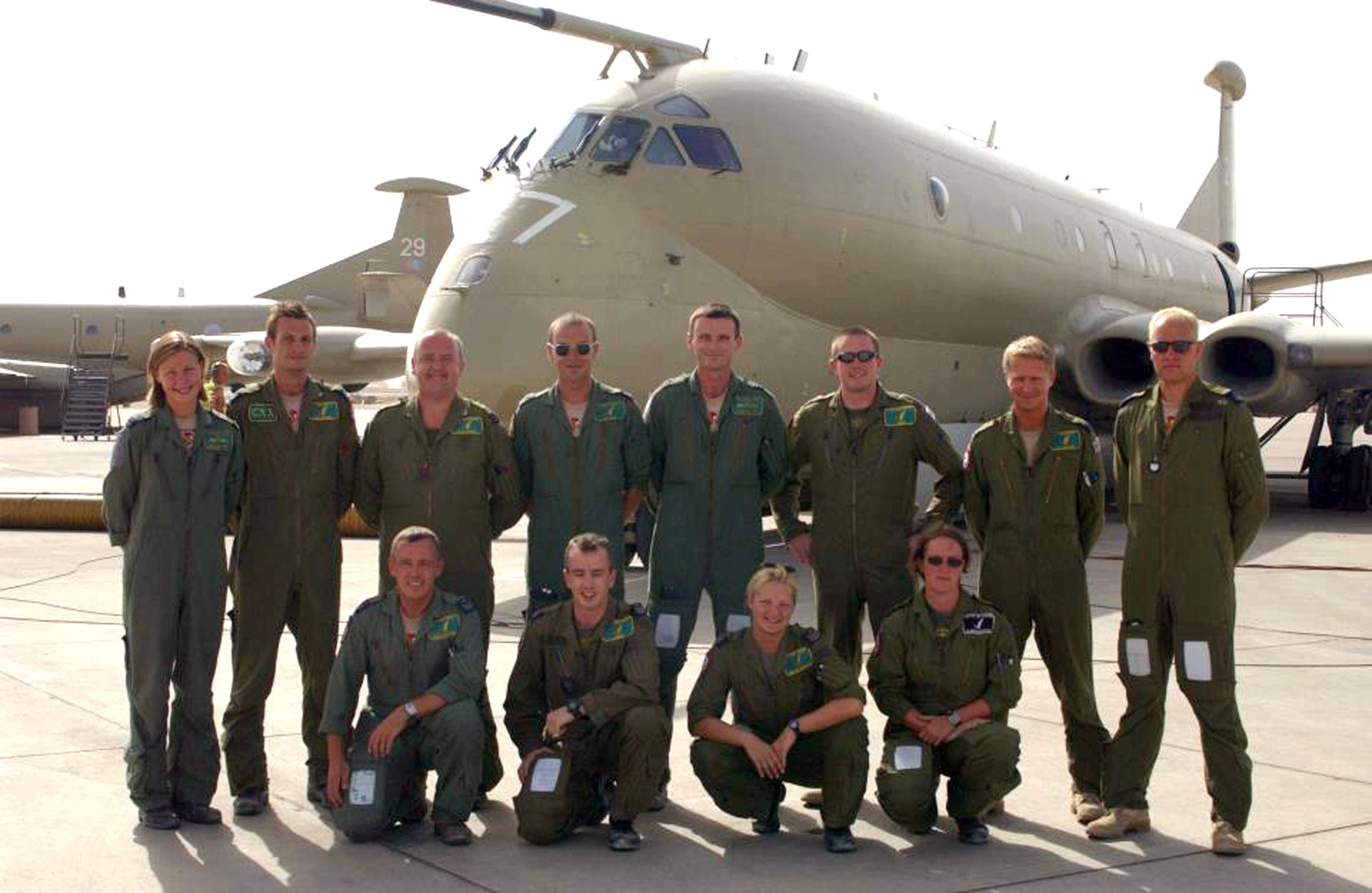Shelley Charlton (front row, third from left) pictured with her former RAF colleagues in...