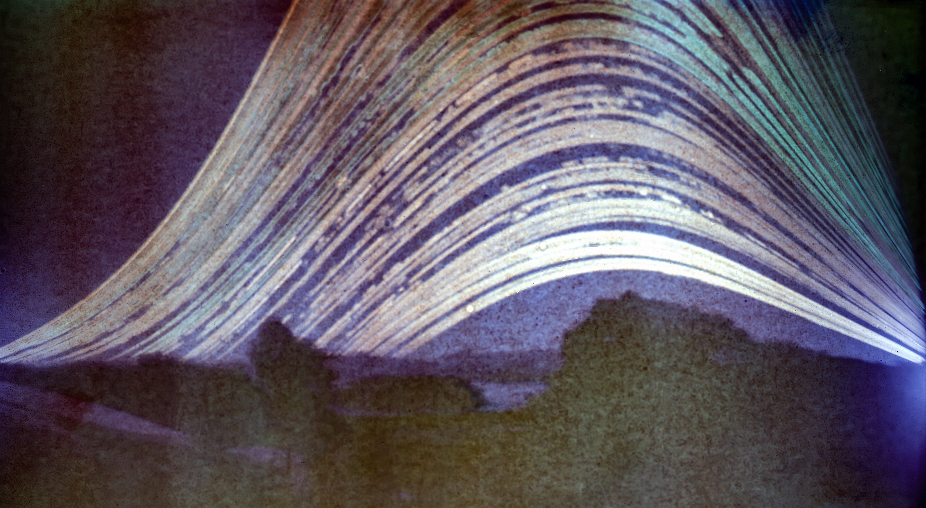 The path of the sun through to sunset, captured by a pinhole camera over 262 days. PHOTO: IAN...