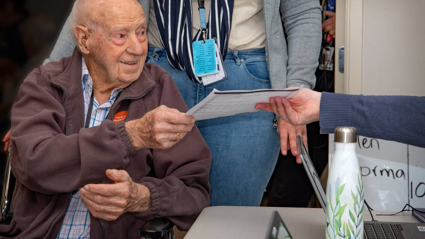 108-year-old Bill Mitchell has received the first dose of the Covid-19 vaccine. Photo: Supplied