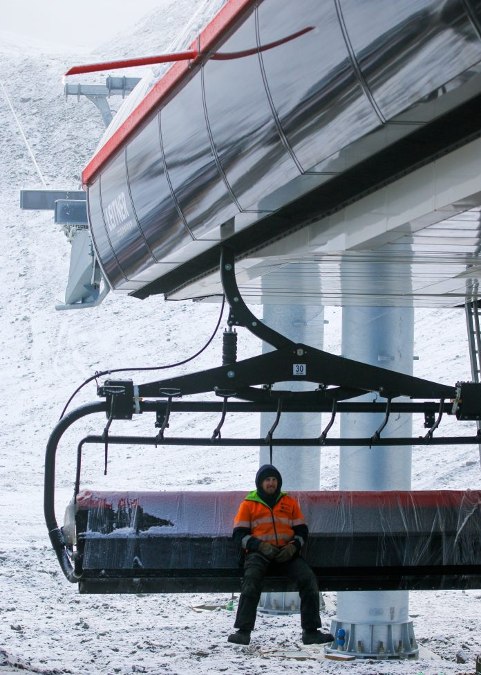 Mt Hutt team member Kendal Sparrow on the new eight-seater chairlift. Photo: Supplied via...