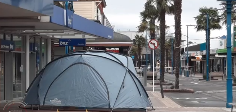 A police tent at the scene of the attack in Market St this morning. Image: NZ Herald