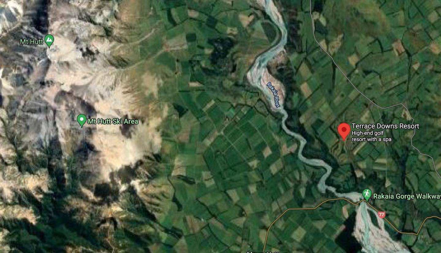 Terrace Downs Resort is near the Mt Hutt Ski Area in Canterbury. Image / Google Maps