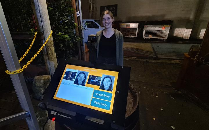 Whangārei bar The Butter Factory employee Breanna Marris demonstrates how the Patronscan system...