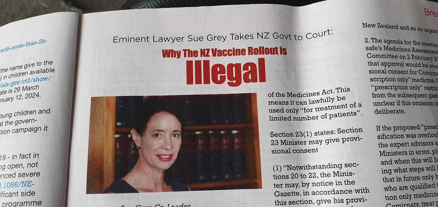 The Real News magazine contains an article claiming the vaccine rollout is illegal. Photo: Supplied